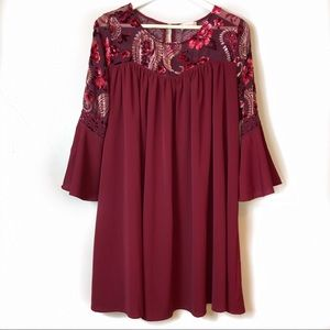 Altar'd State Floral Paisley Bell Sleeve Dress